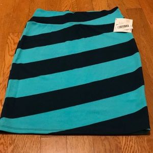 Lularoe Cassie skirt aqua dark blue stripes Large